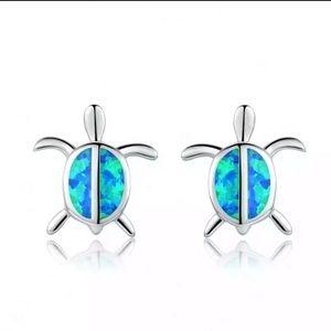 Sterling Silver Blue Opal Turtle Earrings